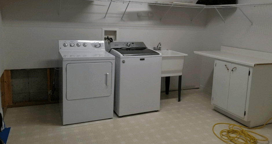 water damage in laundry room